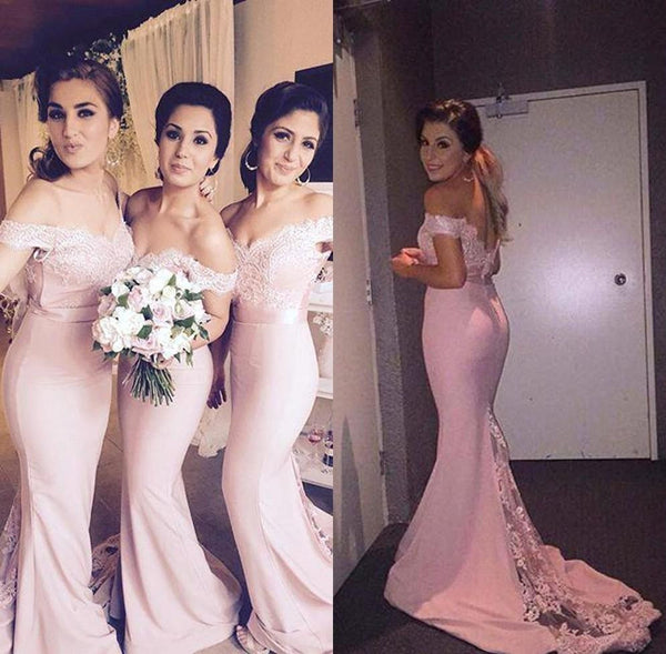 Off the Shoulder Lace Pink Bridesmaid Dresses for Wedding
