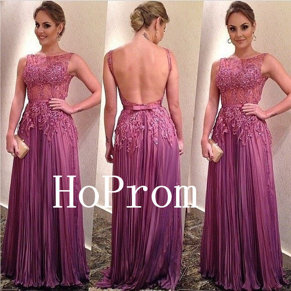 Open Back Prom Dresses,Long Sleeve Prom Dress,Evening Dress