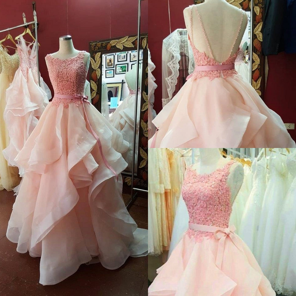 A-Line Ruffles Pink Beading Prom Dresses Evening Dress