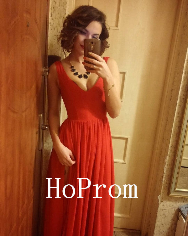 V-Neck Prom Dresses,Red A-Line Prom Dress,Evening Dress