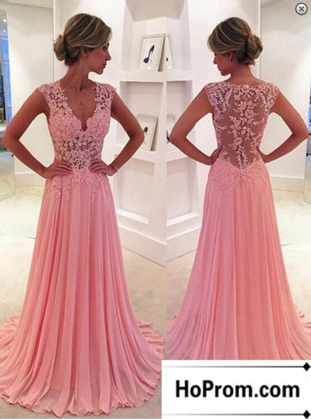 V-Neck Pink Lace A-line Prom Dress Evening Dresses