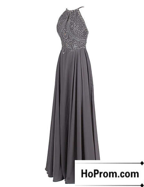 Backless Beaded A-Line Sleeveless Prom Dress Evening Dresses