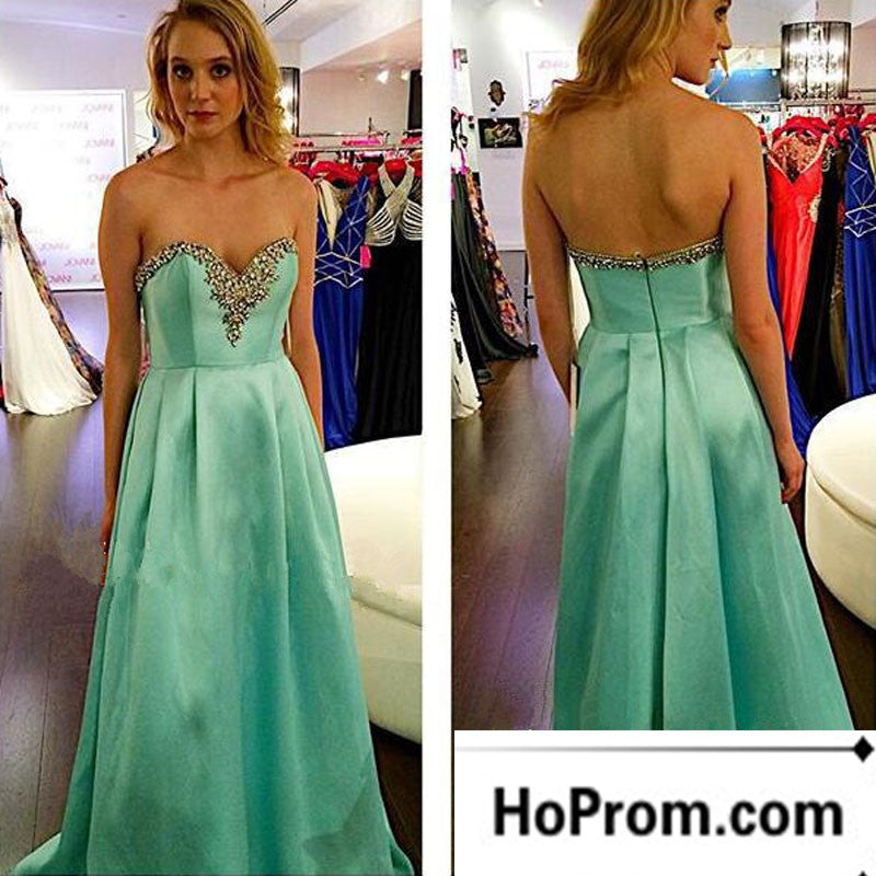 Green Satin A-Line Sweetheart Prom Dress Evening Dresses