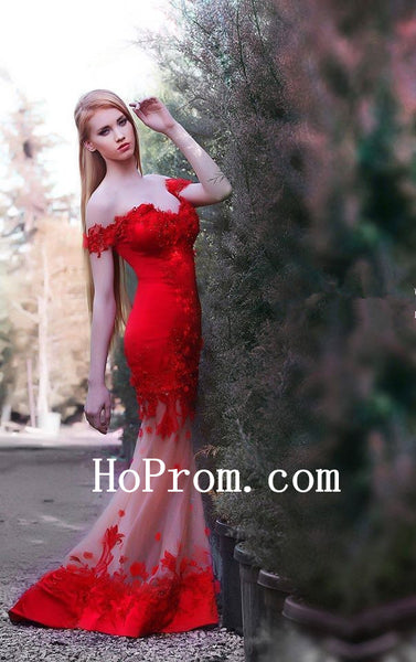 Off Shoulder Prom Dresses,Red Prom Dress,Mermaid Evening Dresses