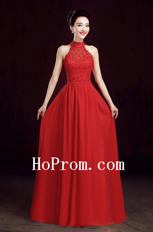 High Neck Prom Dresses,Red Prom Dress,Evening Dresses