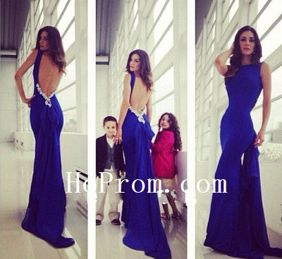 Backless Prom Dresses,Mermaid Prom Dress,Blue Evening Dress