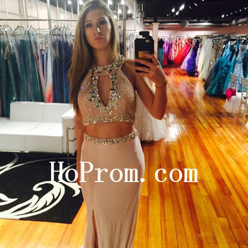 Two Piece Prom Dresses,Halter Slit Prom Dress,Long Evening Dress
