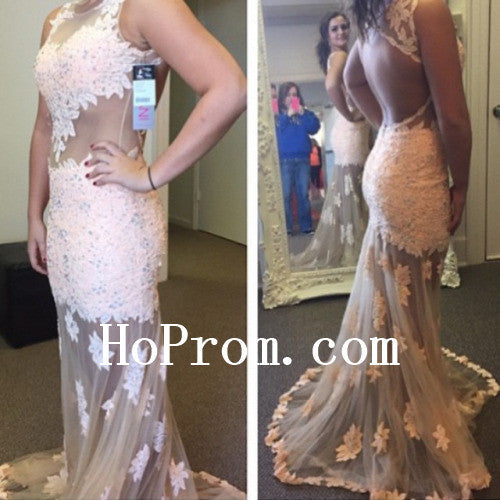 White Lace Prom Dresses,Long Prom Dress,Evening Dress
