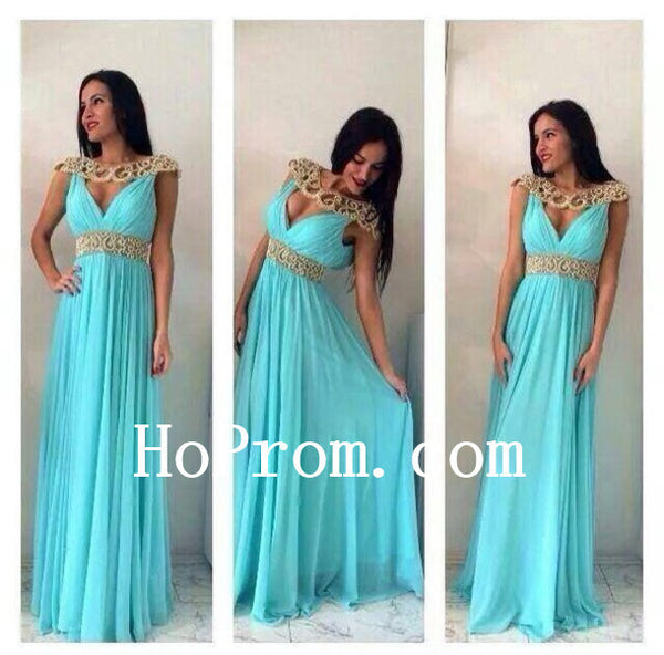 O-Neck Prom Dresses,Mint Prom Dress,Chiffon Evening Dresses