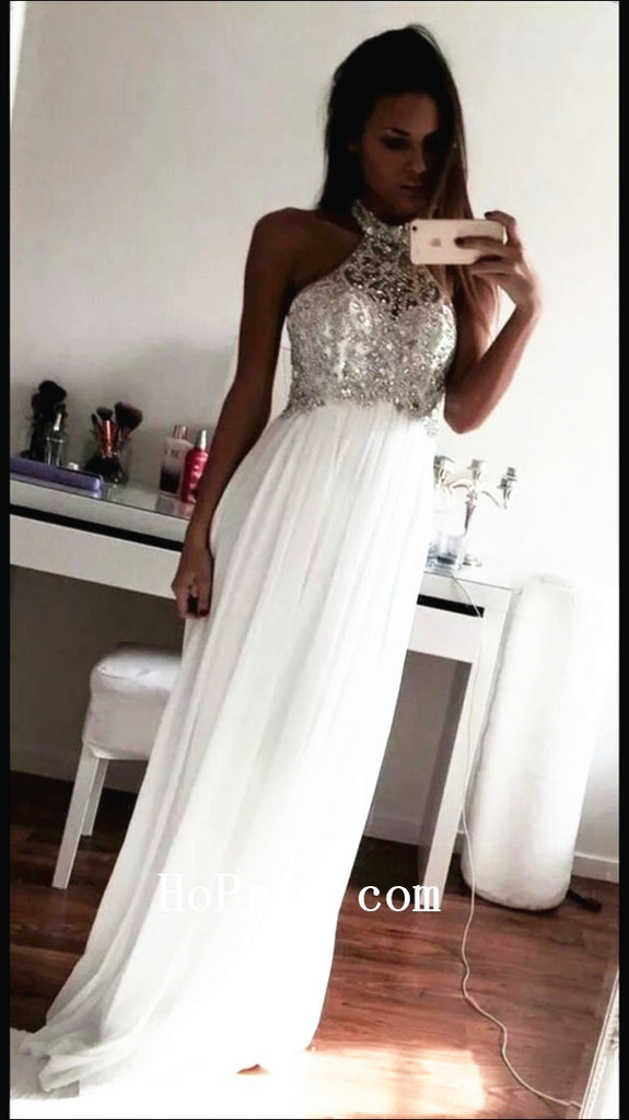 Halter White Prom Dresses,Long Prom Dress,Evening Dresses