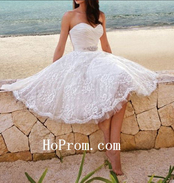 Lace Short Prom Dress,Tulle Prom Dress,White Evening Dress