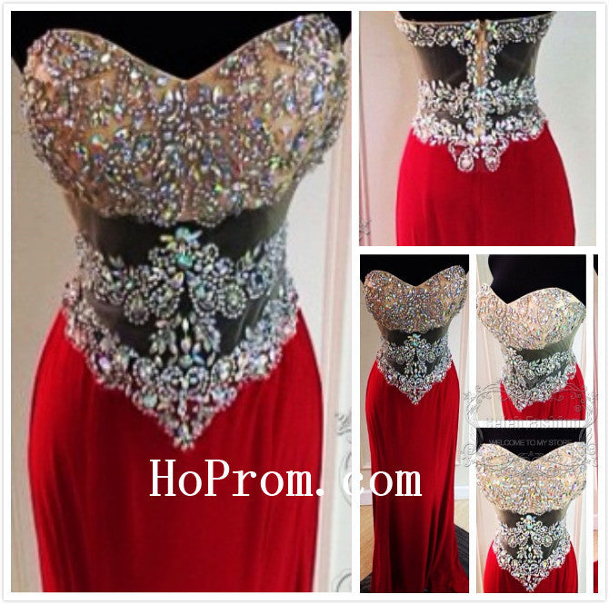 Red Sweetheart Prom Dress,Beading Prom Dress,Evening Dress