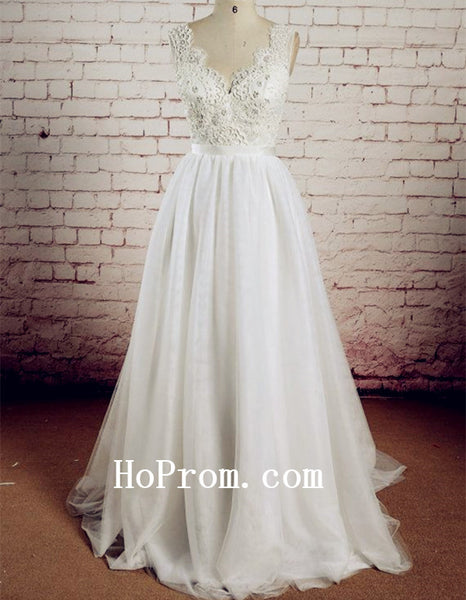 Classic Lace Wedding Dresses,White Prom Dress,Backless Evening Dresses