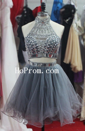 Short Mini Grey Prom Dresses,Two Piece Prom Dress,Evening Dress