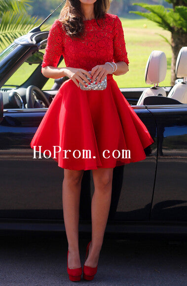 Half Sleeve Prom Dresses,Red Short Prom Dress,Evening Dress