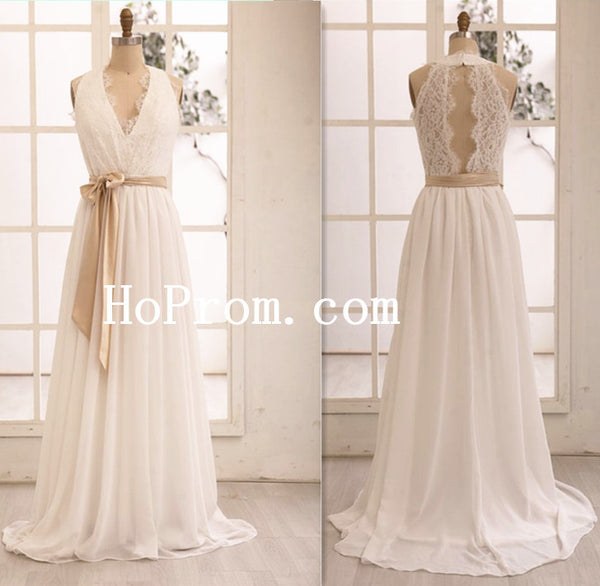 Sash Ivory Wedding Dress,V-Neck Bridal Dress