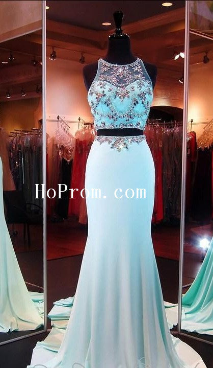 Sheer Mermaid Prom Dresses,Two Piece Prom Dress,Evening Dress