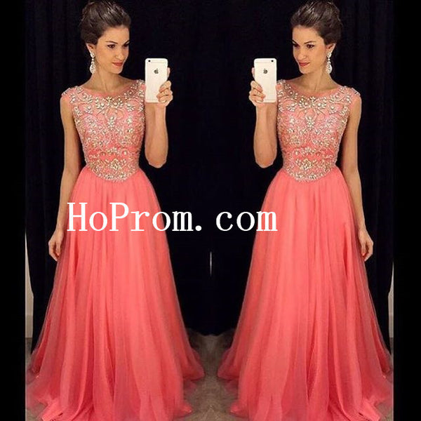 Coral Beading Prom Dresses,Long Prom Dress,Evening Dress