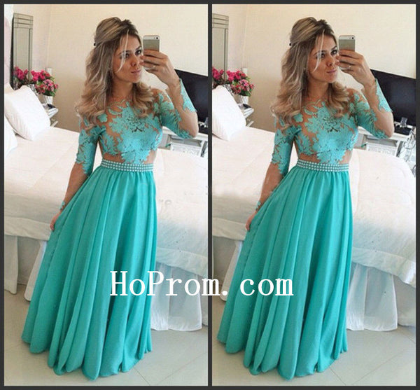 Beaded Belt Prom Dresses,Turquoise Applique Prom Dress,Evening Dress