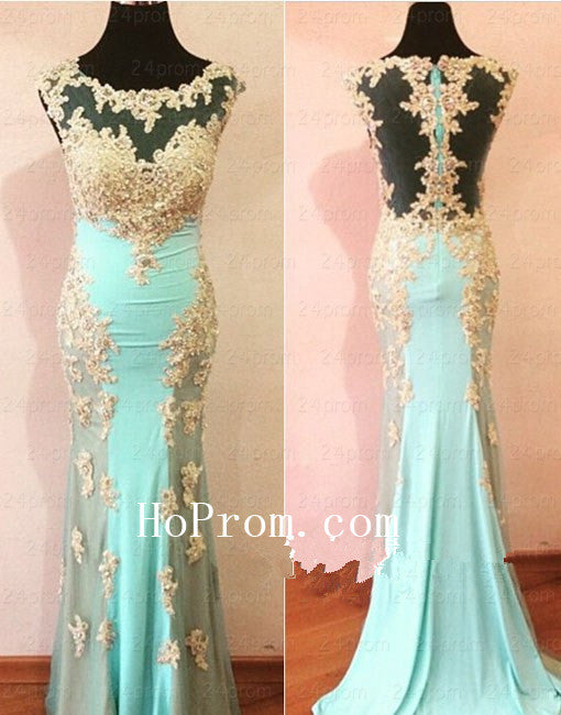Round Neck Prom Dresses,Light Green Prom Dress,Evening Dress