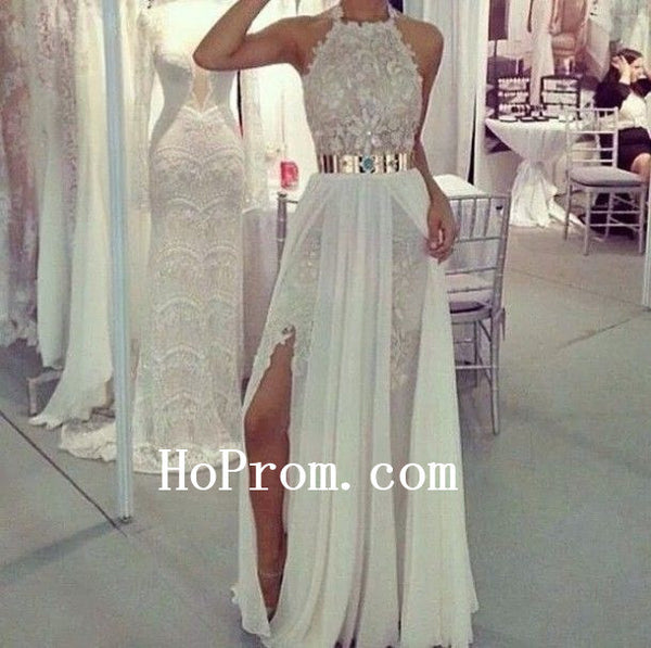 Halter Prom Dresses,A-Line Prom Dress,White Evening Dresses