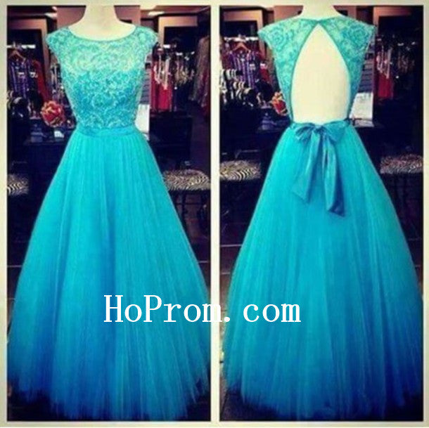 Blue Prom Dresses,Cap Sleeve Prom Dress,Evening Dress