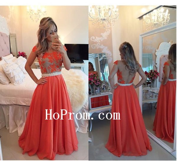 Applique Prom Dresses,Chiffon Prom Dress,Long Evening Dresses