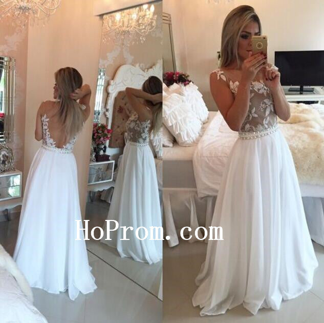 Applique White Prom Dresses,Chiffon Prom Dress,Long Evening Dresses