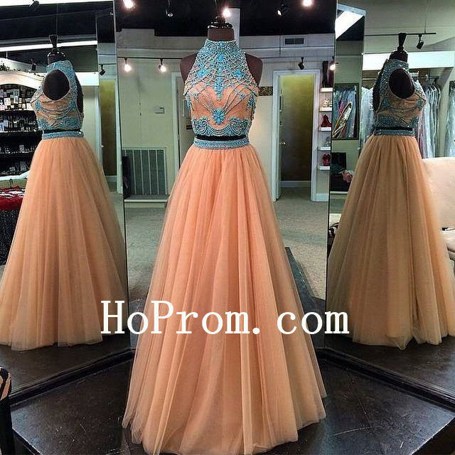 High Neck Prom Dresses,Two Piece Prom Dress,Elegant Evening Dress