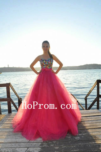 A-Line Prom Dresses,Colorful Crystal Prom Dress,Evening Dress