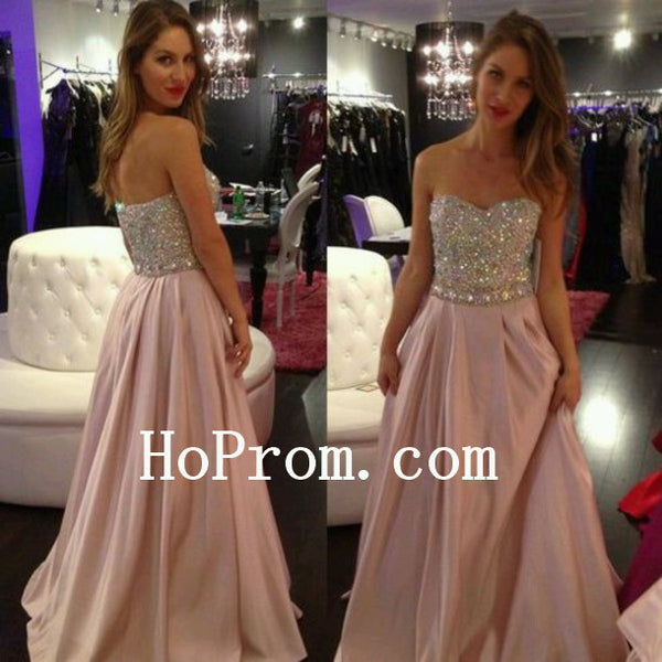 Simple Pink Prom Dresses,Strapless Prom Dress,Evening Dress
