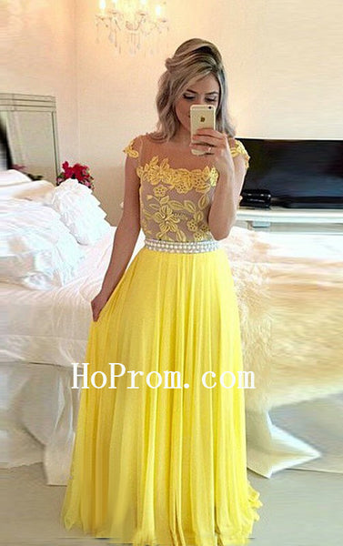Applique Yellow Prom Dresses,Chiffon Prom Dress,Long Evening Dresses