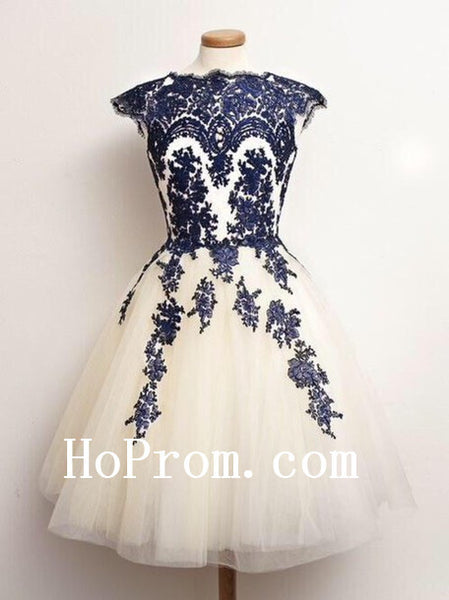 Knee Length Prom Dresses,Applique Prom Dress,Evening Dresses