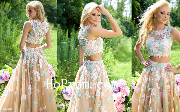 Flower Applique Prom Dress,Long Prom Dresses,Evening Dress
