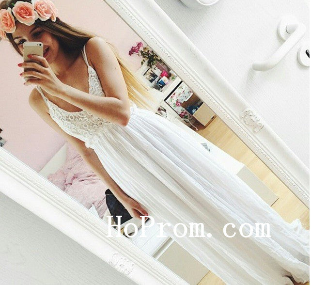 Lovely White Prom Dresses,Straps Prom Dress,Evening Dresses