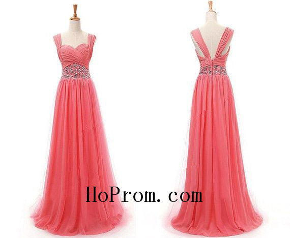 Watermelon Prom Dresses,Straps Prom Dress,Evening Dresses