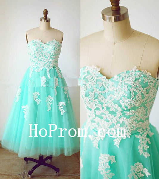 Turquoise Tulle Prom Dress,Tea Length Prom Dresses,Evening Dress