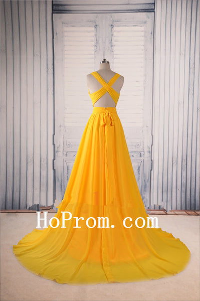 Sexy Chiffon Prom Dresses,Yellow Prom Dress,Evening Dresses