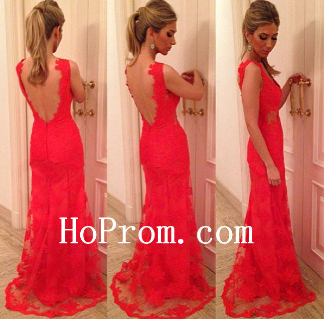 A-Line Prom Dresses,Backless Prom Dress,Lace Evening Dresses