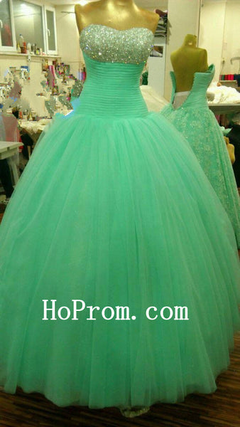 Mint Tulle Prom Dress,A-Line Prom Dresses,Evening Dress