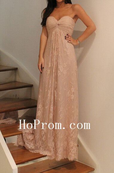 Long Sweetheart Prom Dress,Lace Prom Dress,Evening Dress