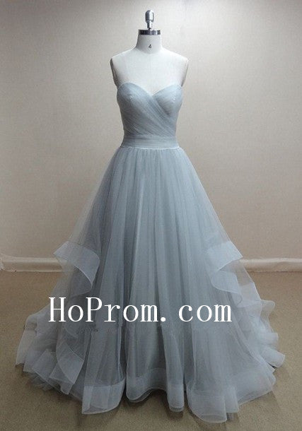 Strapless Grey Prom Dresses,Long Prom Dress,Tulle Evening Dresses