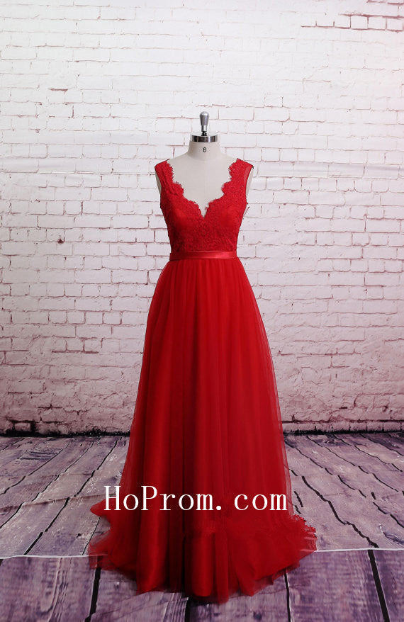 Classic Lace Prom Dresses,Red Prom Dress,Backless Evening Dresses