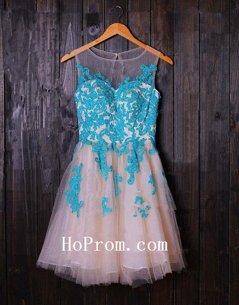 Applique Prom Dresses,Short Prom Dress,Sleeveless Evening Dresses