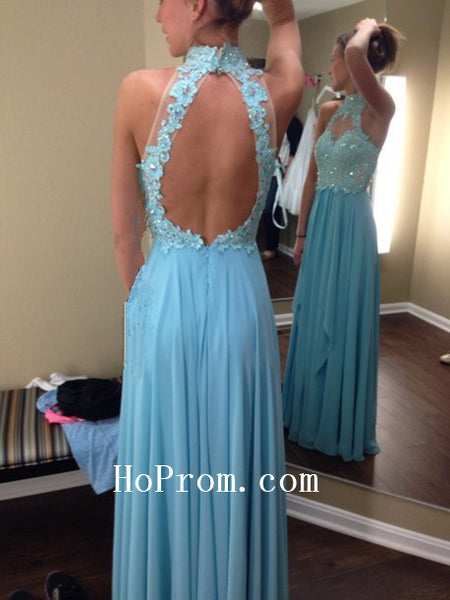 Open Back Prom Dress,Blue Halter Prom Dress,Evening Dress