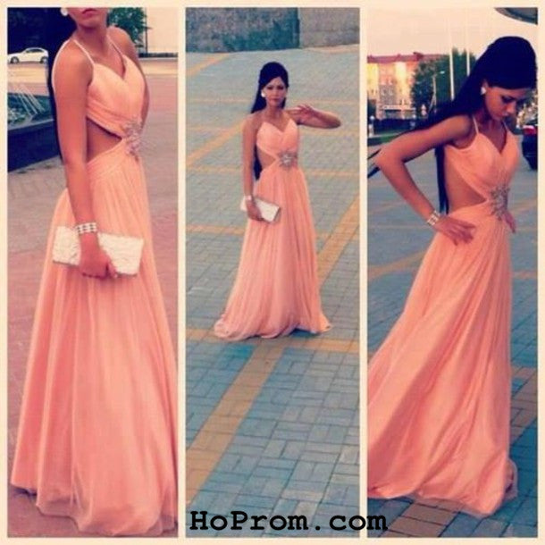 Charming Evening Dresses Backless Prom Dresses Chiffon Prom Dress
