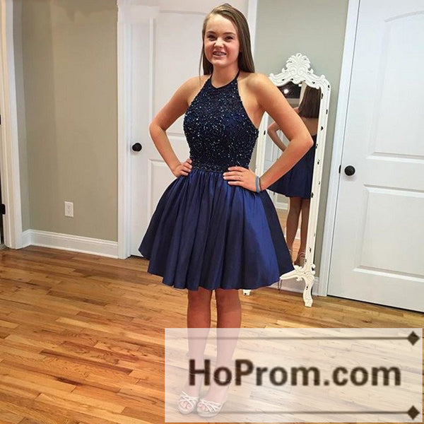 A-Line Halter Backless Short Prom Dresses Homecoming Dresses