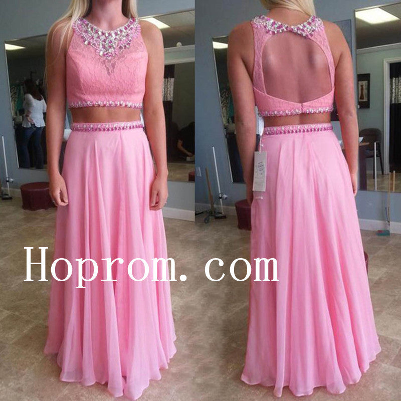 Two Piece Prom Dresses,Pink Prom Dress,Evening Dress