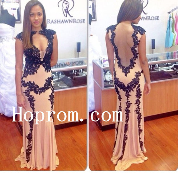 Sleeveless Applique Prom Dresses,Backless Prom Dress,Evening Dress