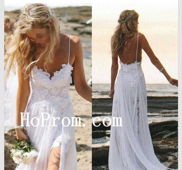 Lace Chiffon Bridal Dresses,White Long Prom Dress,Evening Dress